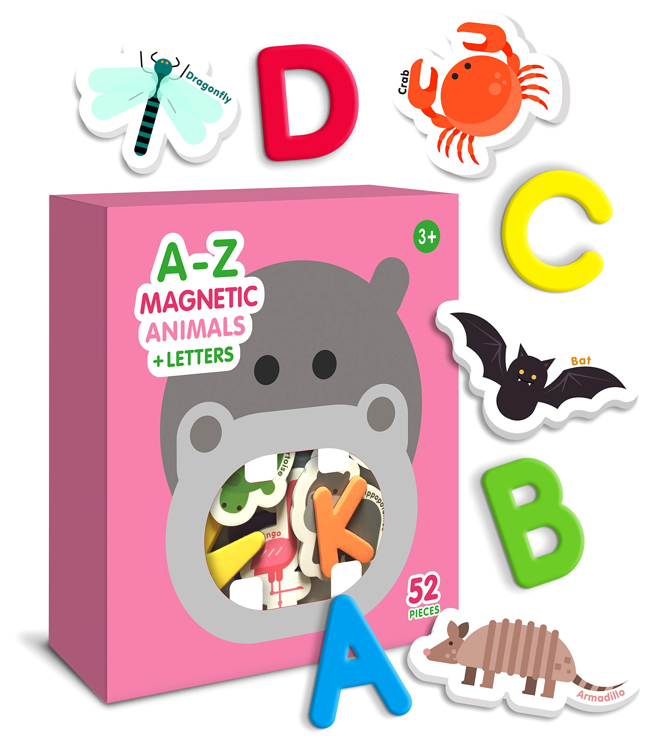 Curious Columbus Animal Magnets For Kids. Includes Alphabet Letters. Set of 52 Pieces. Foam Educational Magnetic Toy Objects For Word Recognition. 26 Picture Fridge Magnets and 26 ABC Letters From A-Z by Curious Columbus (Image #1)