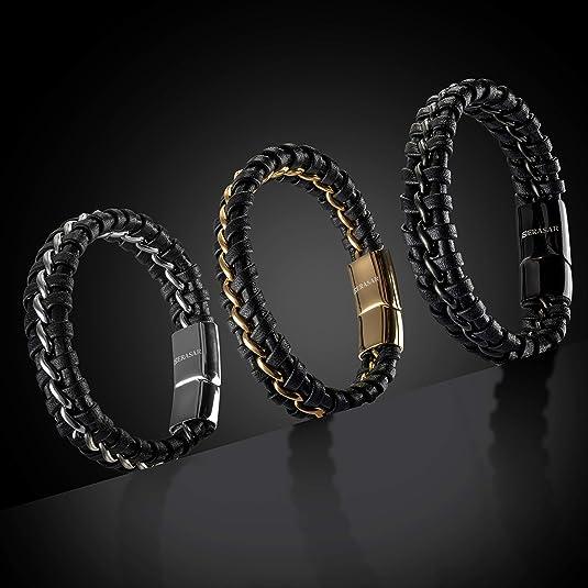 Elfcraft Bracelet en cuir tress/é pour homme Marron Fermoir en argent 925 avec ornement de lys 21 cm