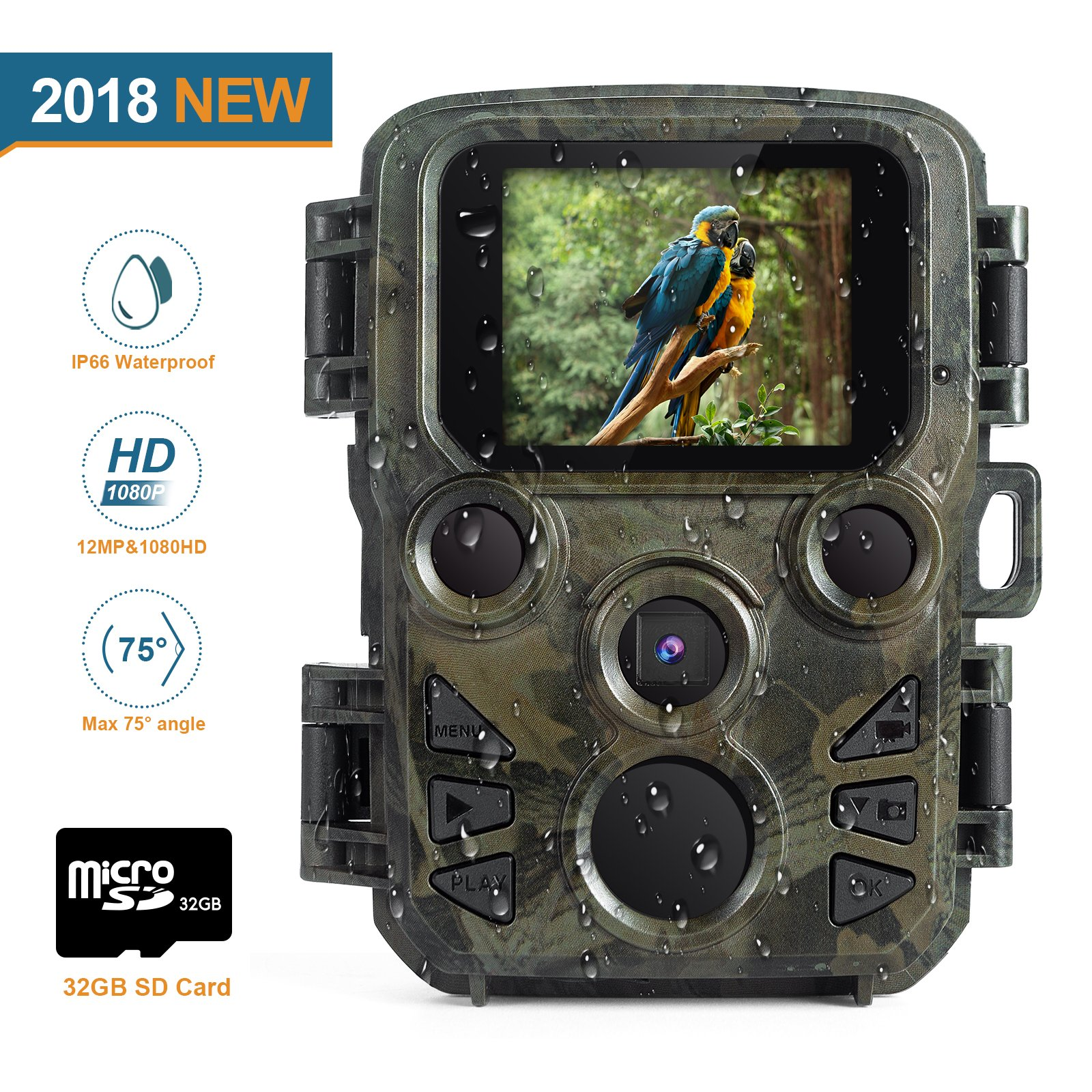 "FLAGPOWER Mini Trail Camera, 12MP 1080P Hunting Game Camera, 0.45s Motion Wildlife Camera with 32 GB TF Card 60ºPIR Sensor Infrared Night Vision,2.0""LCD Display, IP66 Waterproof"