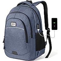 KUSOOFA Herren Rucksack, Business Laptop Rucksack, Studenten Wasserdicht Notebook Tagesrucksack Backpack, Schulrucksack mit USB-Ladeanschluss, Vielen Taschen und Fächern