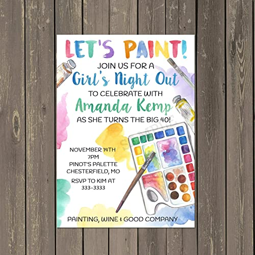 Amazon adult painting paint and sip bridal shower or birthday adult painting paint and sip bridal shower or birthday invitations set of 10 with white stopboris Images