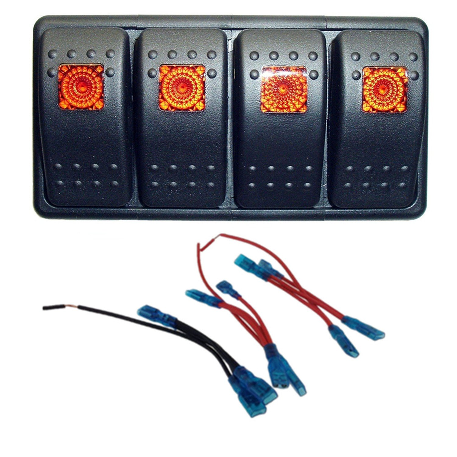 Iztoss 20A 12V 10A 24V ON-OFF 3pins Rocker Switch Panel Auto/Marine Boat RV with Jumper Wire and 4 Switches Housing holder (Multi Color)