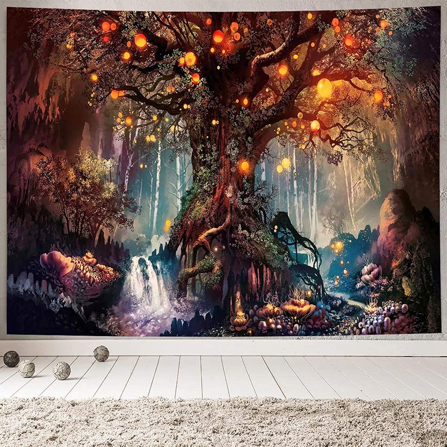 Miytal Fantasy Forest Magical Tree Tapestry, Life Tree Wall Art Large Nature Trippy Tapestries Wall Decor for Bedroom Living Room Dorm (Red, 59.1 x 80 inches)