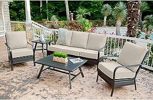Hanover OAKMONT5PCS-ASH Oakmont 5-Piece Grade Patio Set Commercial Outdoor Furniture, Cast Ash/Gunmetal