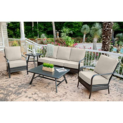 Amazon Com Hanover Oakmont5pcs Ash Oakmont 5 Piece Grade Patio Set