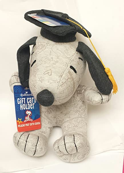 Hallmark Plush Graduation Snoopy Gift Card Holder - gray w/ doodles 10 inch