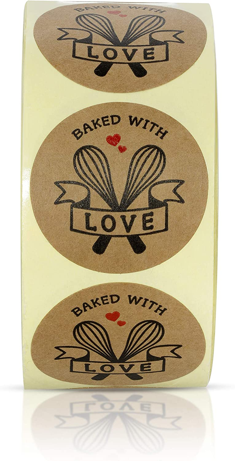 Sweetzer & Orange Baked with Love Stickers - Circle Labels for Homemade Goods, Bake Sales, Bakery Business - Printed on Rustic Brown Kraft Paper - Sticks on Paper, Plastic Packaging, Jars, Canning