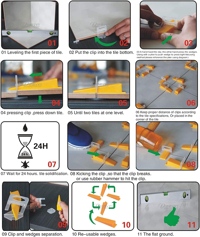 1.0mm SALAKA Syst/ème de nivellement de carrelage 3 mm Clips Syst/ème de nivellement de carrelage Clips espaceur pour Mur Sol carrelage