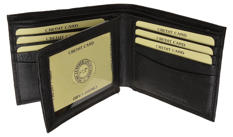 Euro Traveler Style with Center Flip Id Window Black Mens Premium Leather Wallet