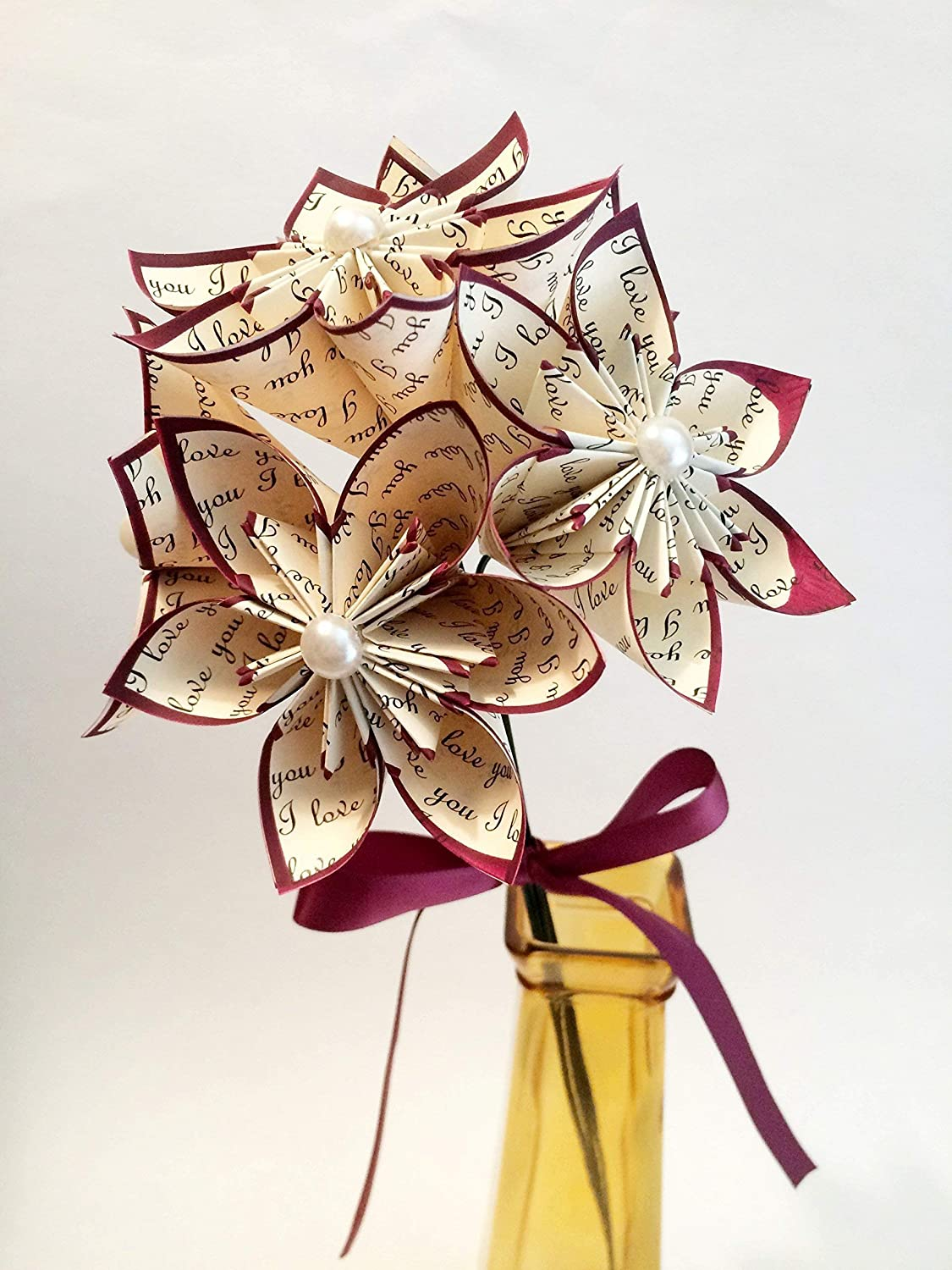5 I Love You Paper Flowers Ready To Ship Handmade Anniversary Gift Wedding Decor Origami Small Bouquet