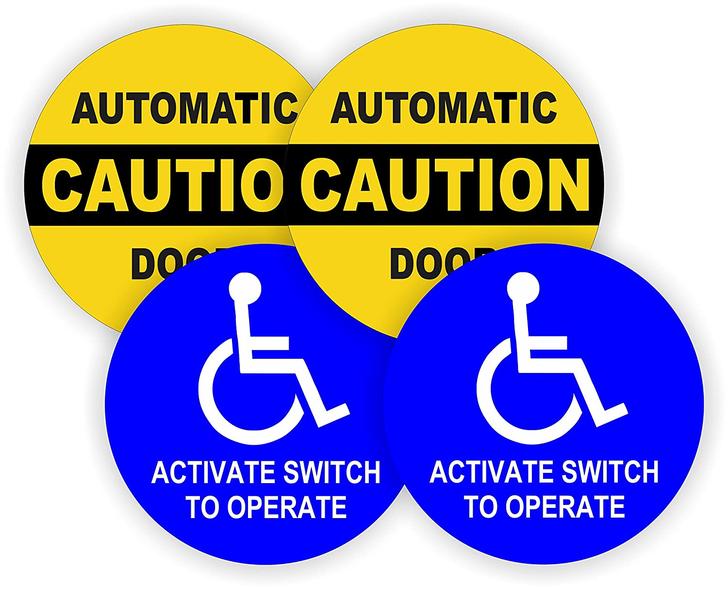 2 pair 5 inch round caution automatic door activate switch to operate decals weatherproof vinyl stickers glass entry labels small business office