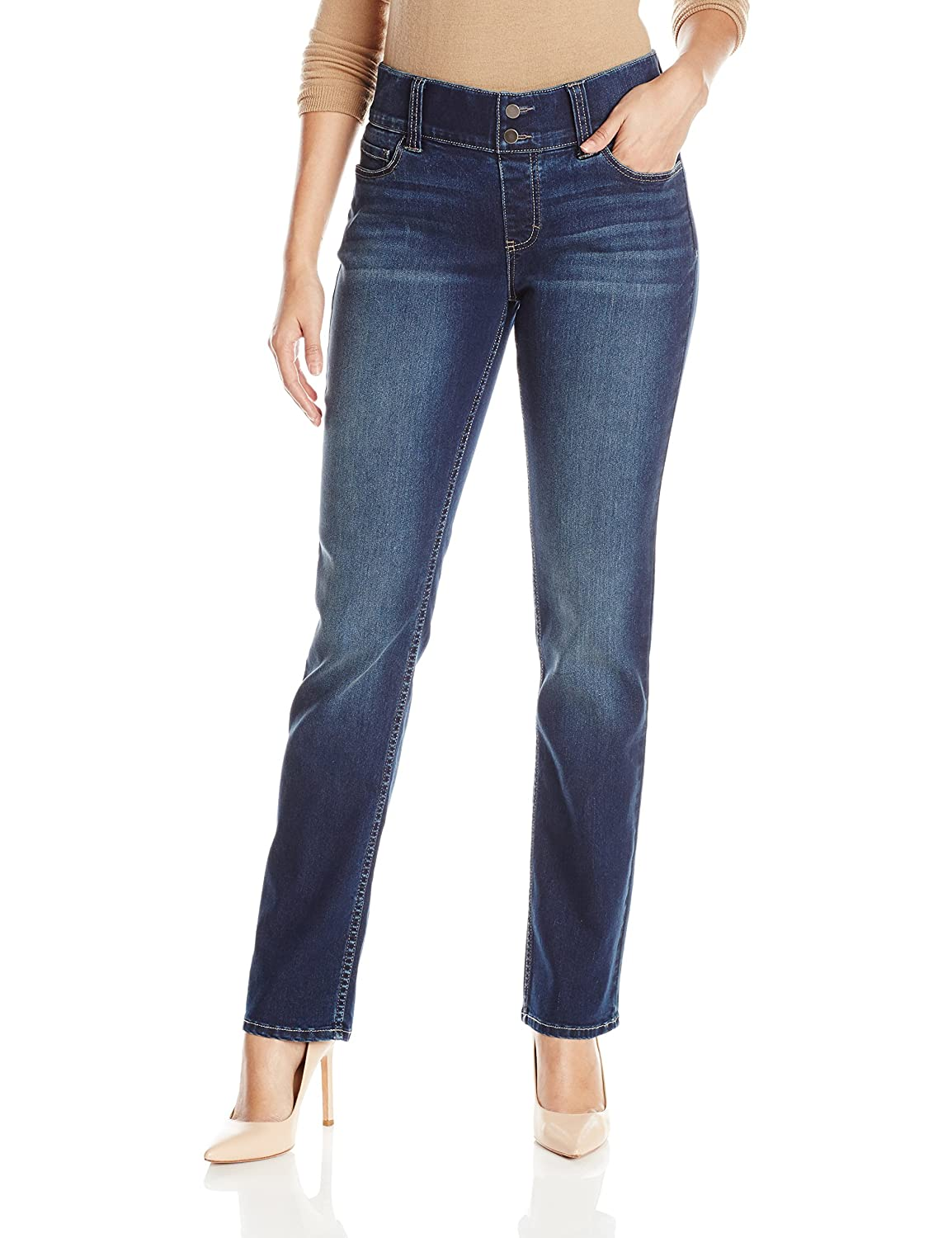 Riders by Lee Indigo Women's Pull-On Waist Smoother Straight-Leg Jean