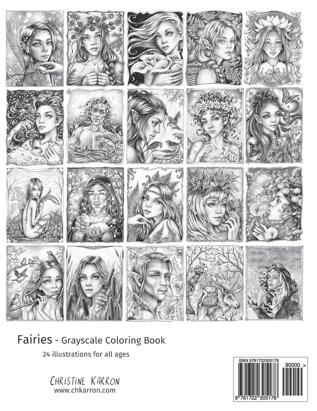 Amazon Fr Fairies Grayscale Coloring Book Christine