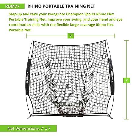 Champion Sports Baseball Softball Net Rhino Flex Baseball Softball Pitching and Batting Training Net – Portable Hitting and Throwing Practice Net