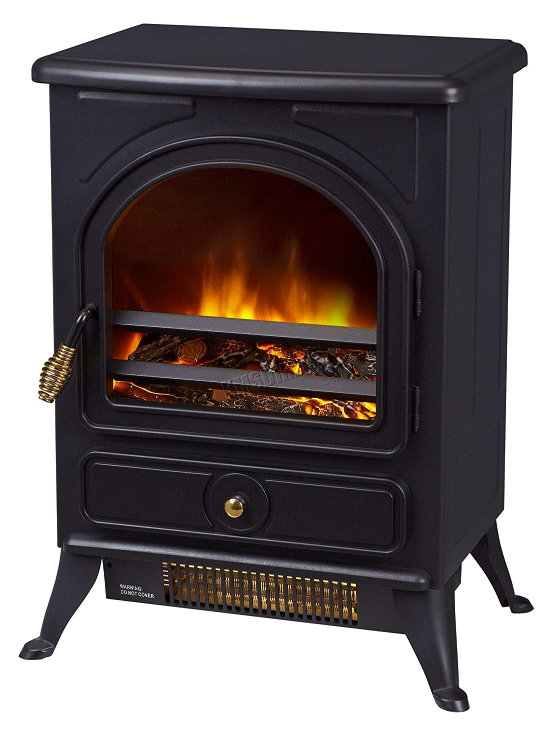 FoxHunter Electric Stove Fireplace Log Heater Burning Steel 3D LED Frame Flame Effect 1800W Freestanding Fire Suite 187 Black KMS
