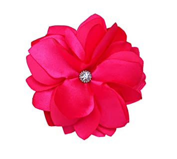 Amazon new bright hot pink flower hair clipbrooch beauty new bright hot pink flower hair clipbrooch mightylinksfo