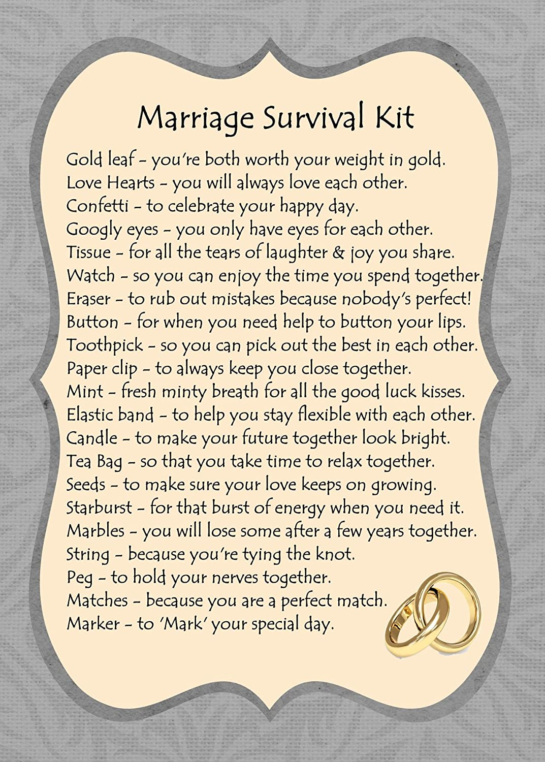 MARRIAGE SURVIVAL KIT GIFT CARD: Amazon.co.uk: Kitchen & Home