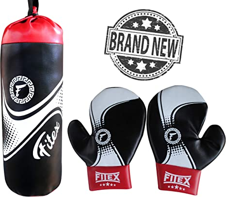 Kids Boxing Training Set with Gloves Headgear and Punching Bag Boys Girls
