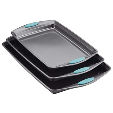 Rachael Ray Nonstick Bakeware Cookie Pan Set, 3-Piece, Gray with Agave Blue Silicone Grips