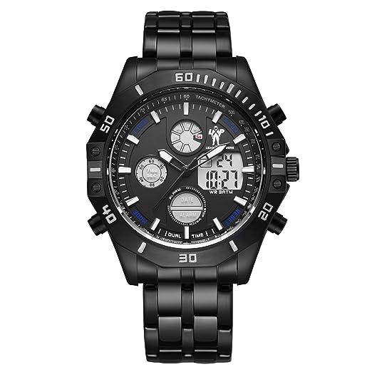 LEAD X PIONEERS - Reloj de pulsera analógico digital con fecha y correa de acero inoxidable de color negro: Amazon.es: Relojes