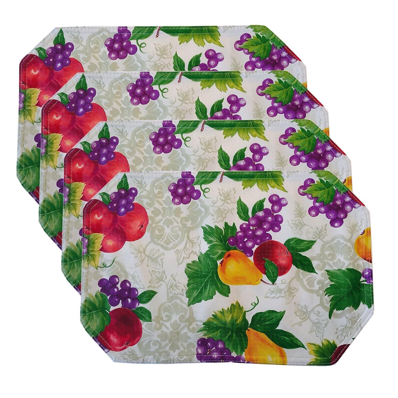 Newbridge ビニールテーブルクロス ノベルティプリント柄 屋内/屋外用 フラネル裏打ち 4 Piece Placemat Set B01LRITQT4 4 Piece Placemat Set,Avalon Fruitt