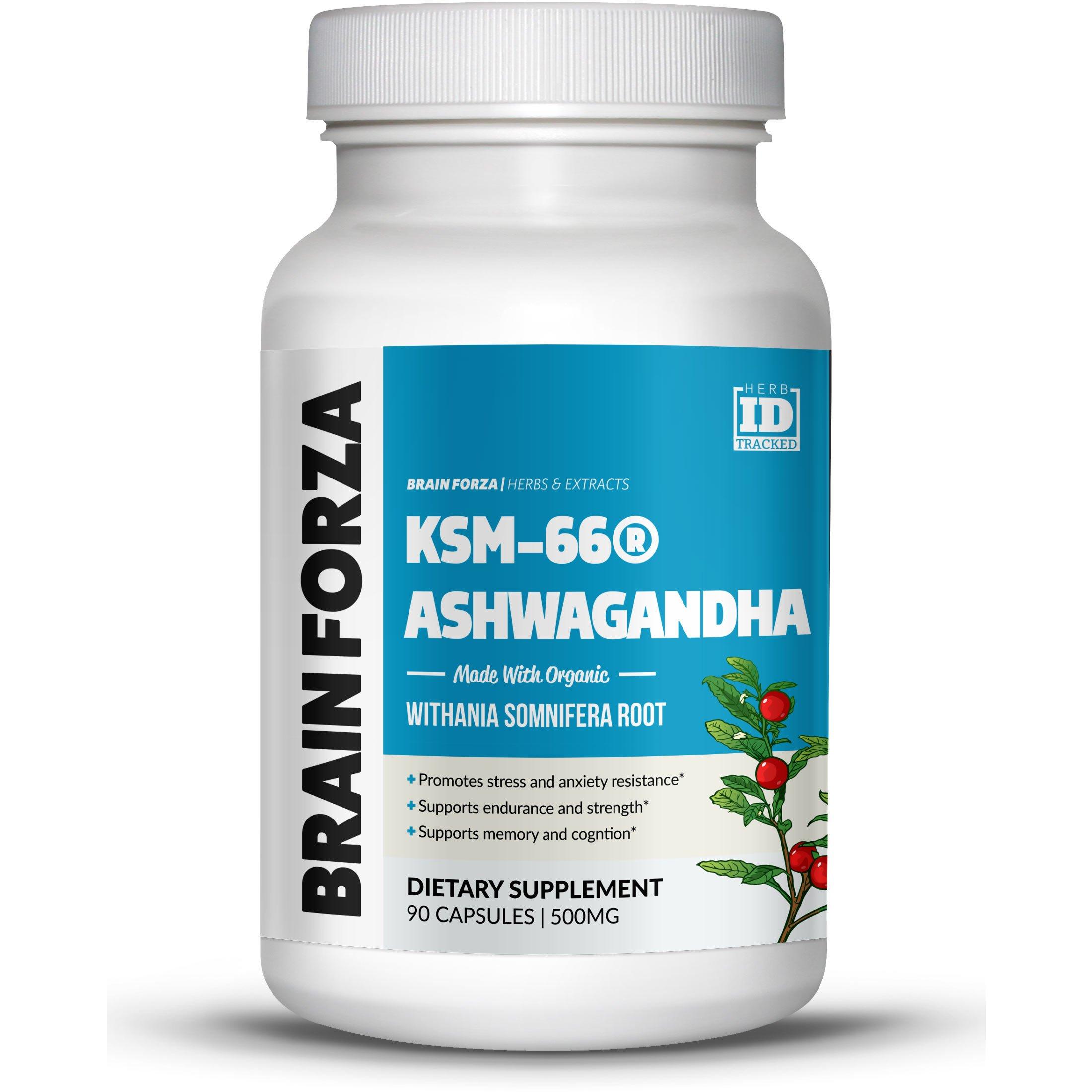 Brain Forza Organic KSM-66 Ashwagandha Root Extract 1,000mg/day for Brain, Stress, Memory and Sleep Support, Organic, Non-GMO, 90 Capsules