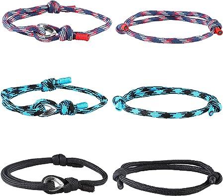 Hanpabum - 6 pulseras náuticas trenzadas hechas a mano para hombre, pulsera de cuerda ajustable: Amazon.es: Joyería
