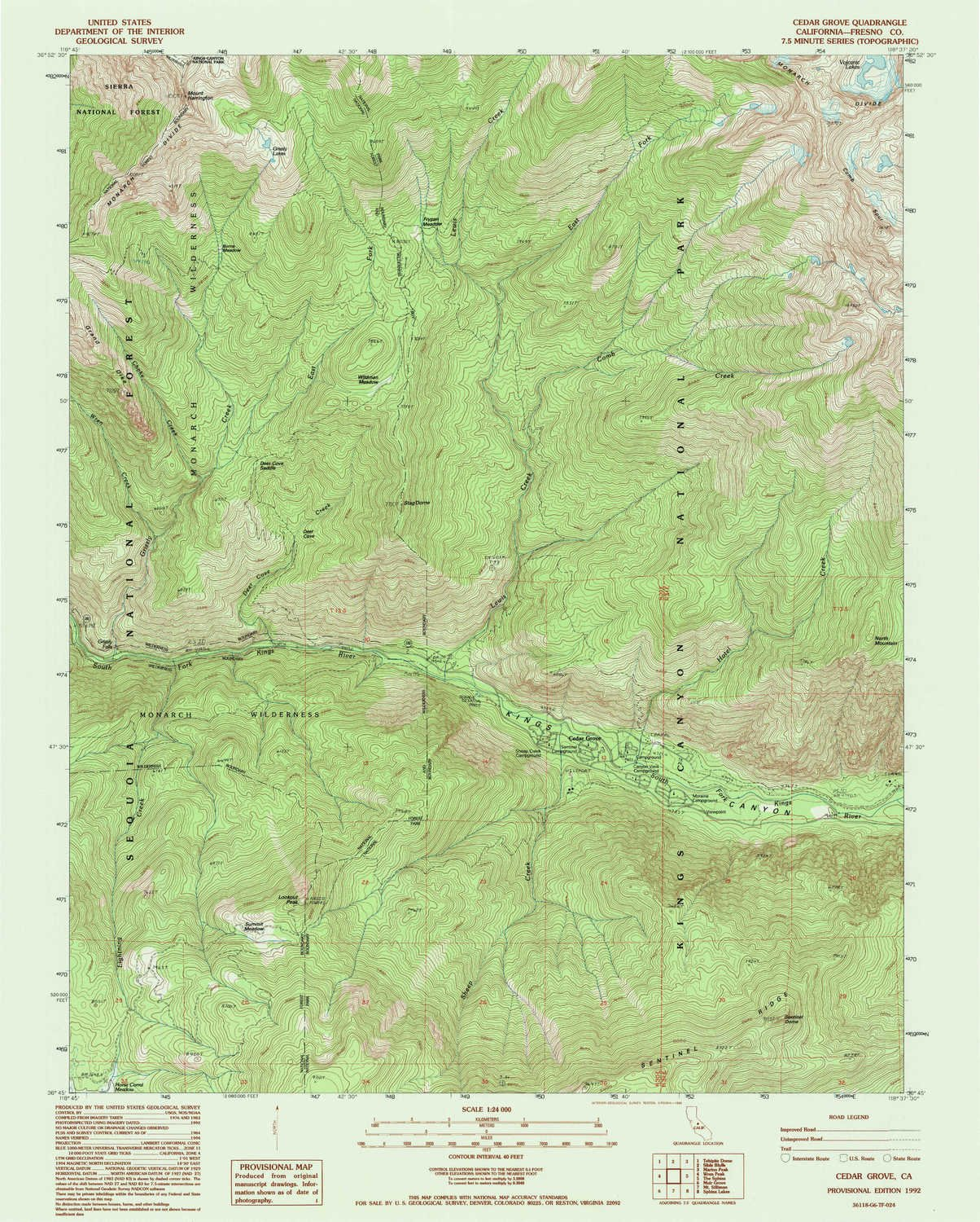 YellowMaps Cedar Grove CA topo map, 1:24000 Scale, 7.5 X 7.5 Minute, Historical, 1992, Updated 1995, 26.7 x 21.4 in - Paper by YellowMaps