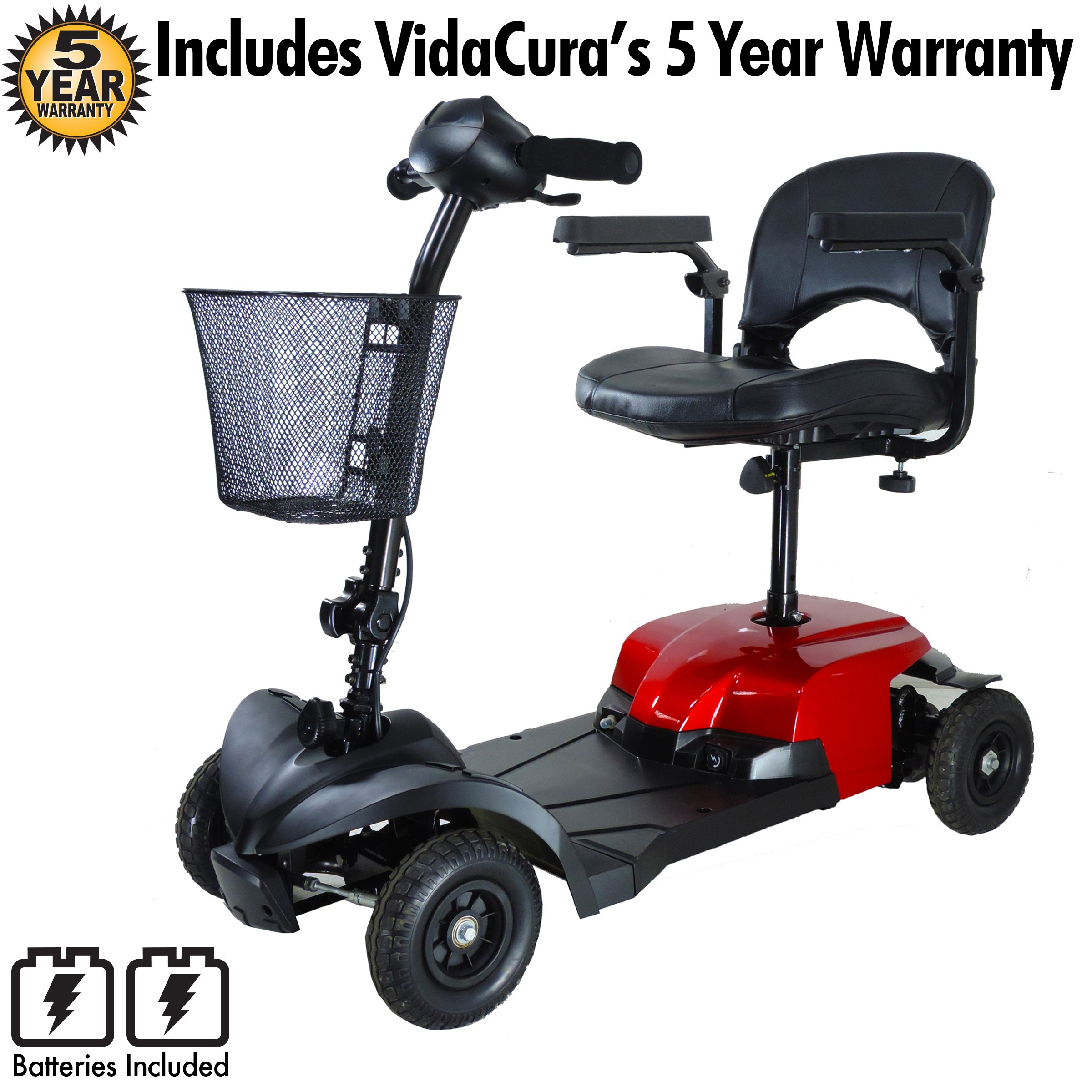 Drive Medical Bobcat X4 4 Wheel Compact Transportable Scooter with 5 Year Protection Plan Including Batteries