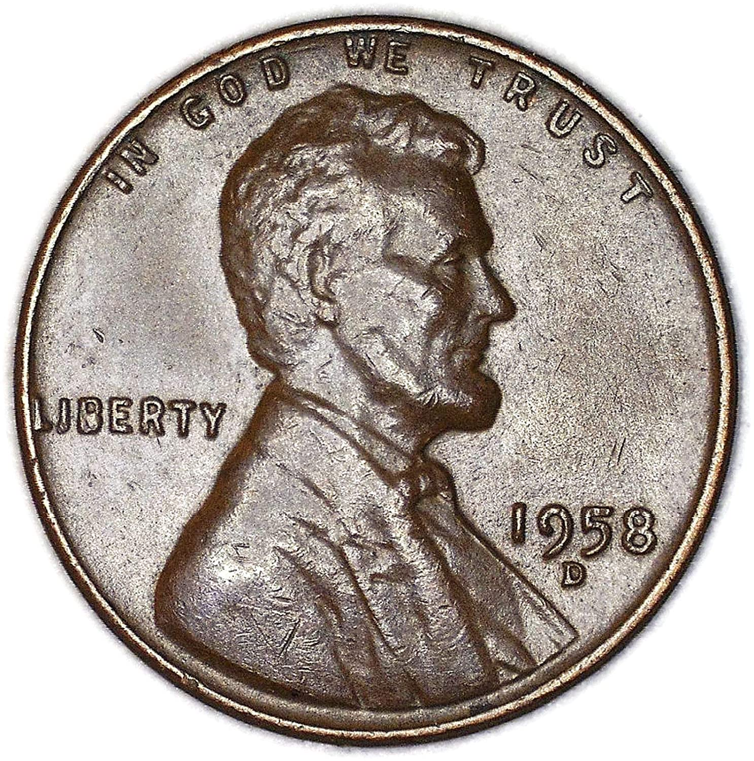 1958 D Filled B Lincoln Wheat Cent Good at Amazon's