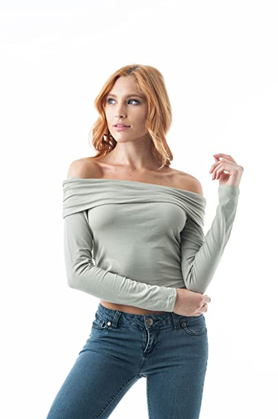4dd44790804 Khanomak Women s Ruched Off The Shoulder Fold Long Sleeve Plain Crop top  (Small