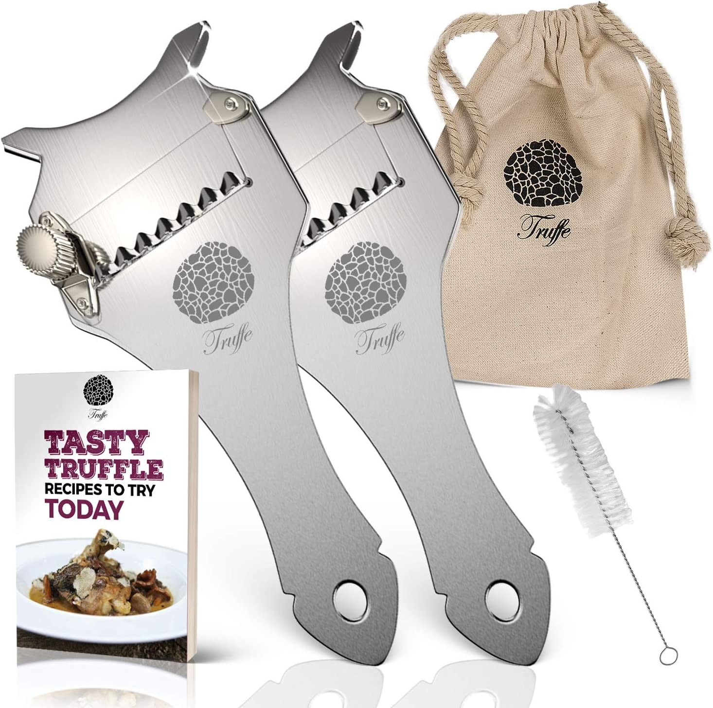 5☆ Truffle Slicer 2 Pack with Chic Fabric Bag, Recipe E-Book & PDF User Guide. Also Shaves Cheese, Garlic, Mushrooms & Veg! Premium Stainless Steel & Adjustable Blade