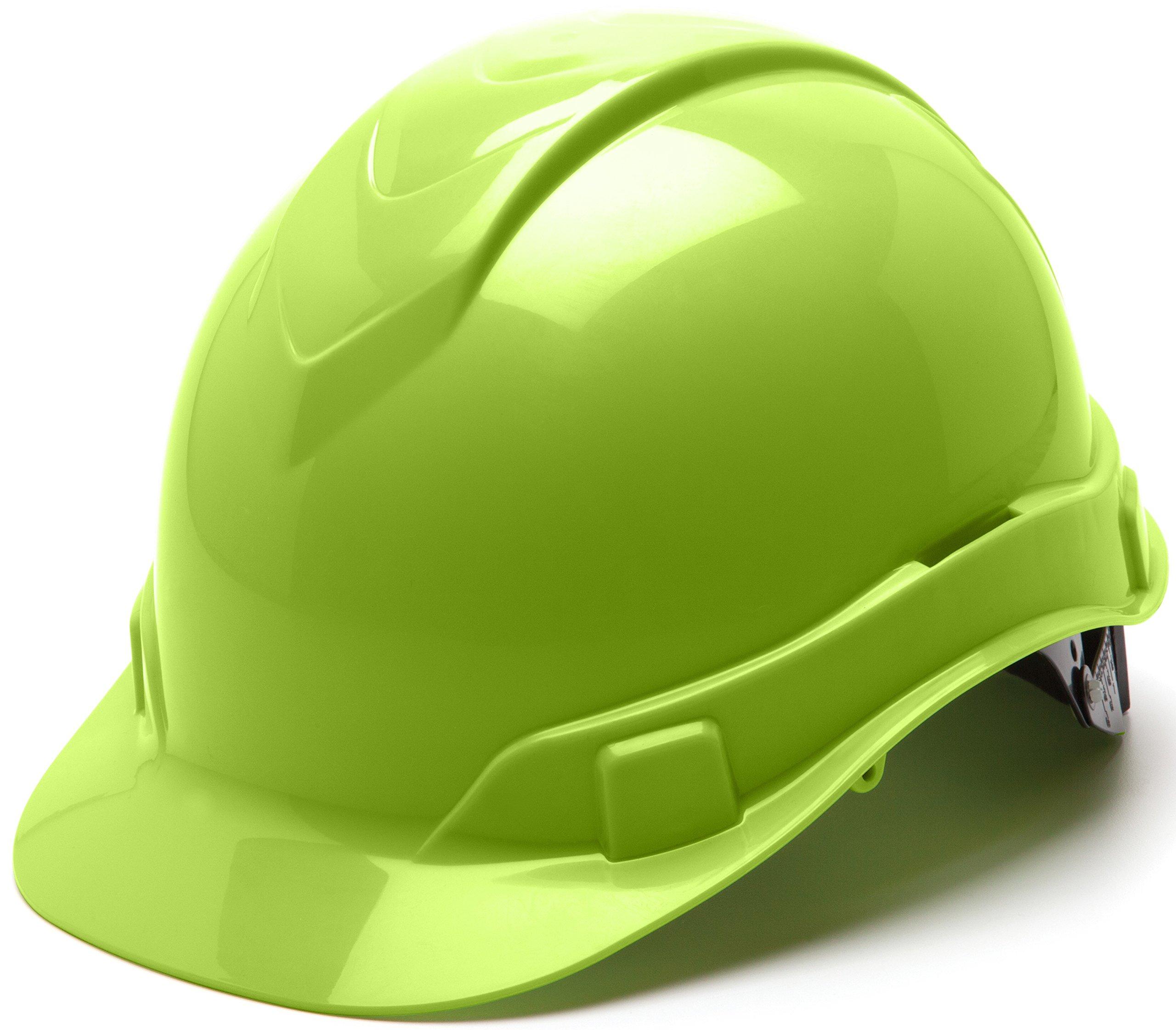 Pyramex Ridgeline Cap Style Hard Hat, 6 Point Ratchet Suspension, Hi Vis Lime by Pyramex Safety (Image #1)