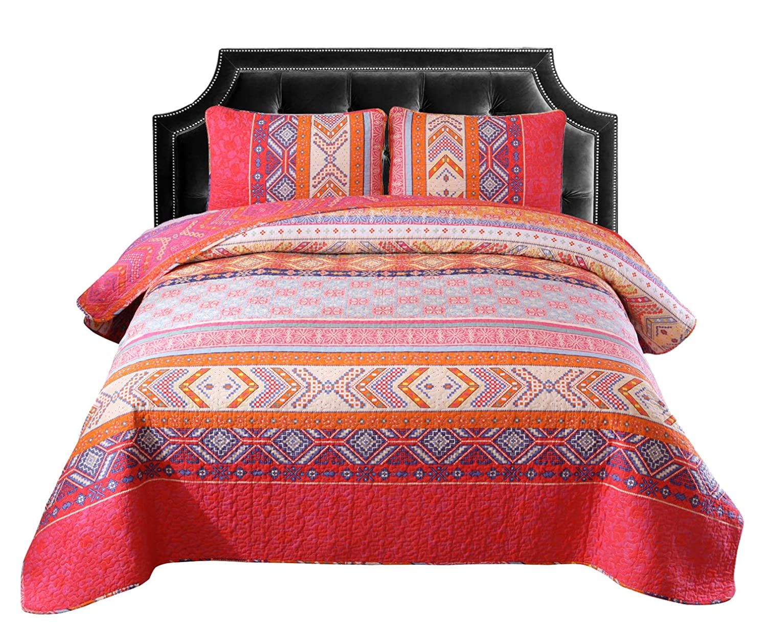 Exclusivo Mezcla 100% Cotton 3-Piece Multicolored Boho Full/Queen Size Quilt Set as Bedspread/Coverlet/Bed Cover- Lightweight, Reversible& Decorative