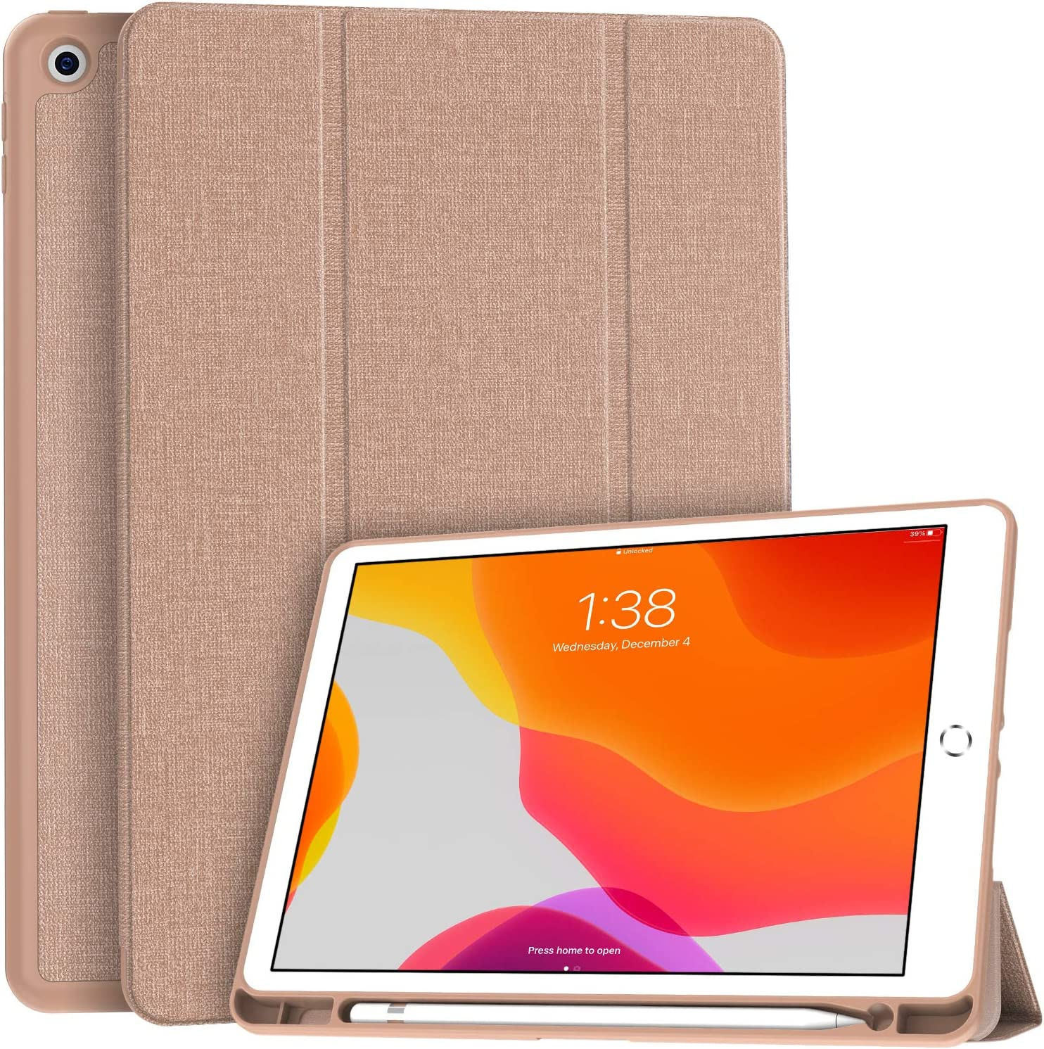 """Soke New iPad 10.2 Case with Pencil Holder, iPad 8th Generation 2020/7th Generation 2019 Case-Premium Shockproof Case with Soft TPU Back Cover&Auto Sleep/Wake for Apple iPad 10.2"""", Rose Gold"""
