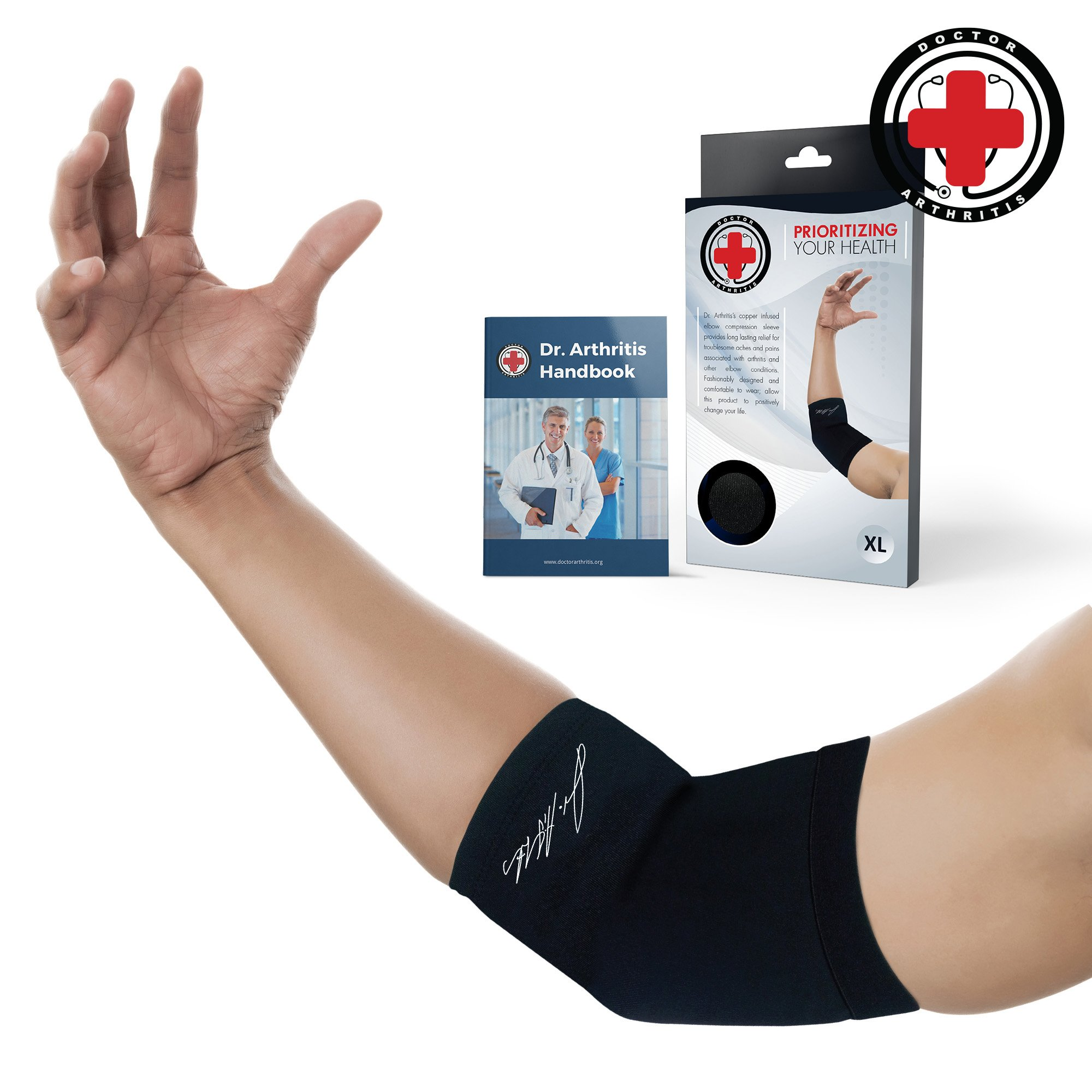 Doctor Developed Copper Elbow Brace & Elbow Support Sleeve AND DOCTOR WRITTEN HANDBOOK —GUARANTEED relief for Tennis elbow, Golfers Elbow, Arthritis, Elbow compression & support (L) by Dr. Arthritis (Image #1)
