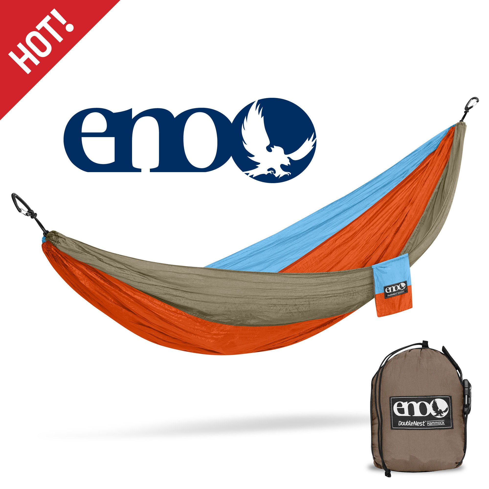 ENO Eagles Nest Outfitters - DoubleNest Hammock, Portable Hammock for Two, Powder Blue/Orange/Khaki