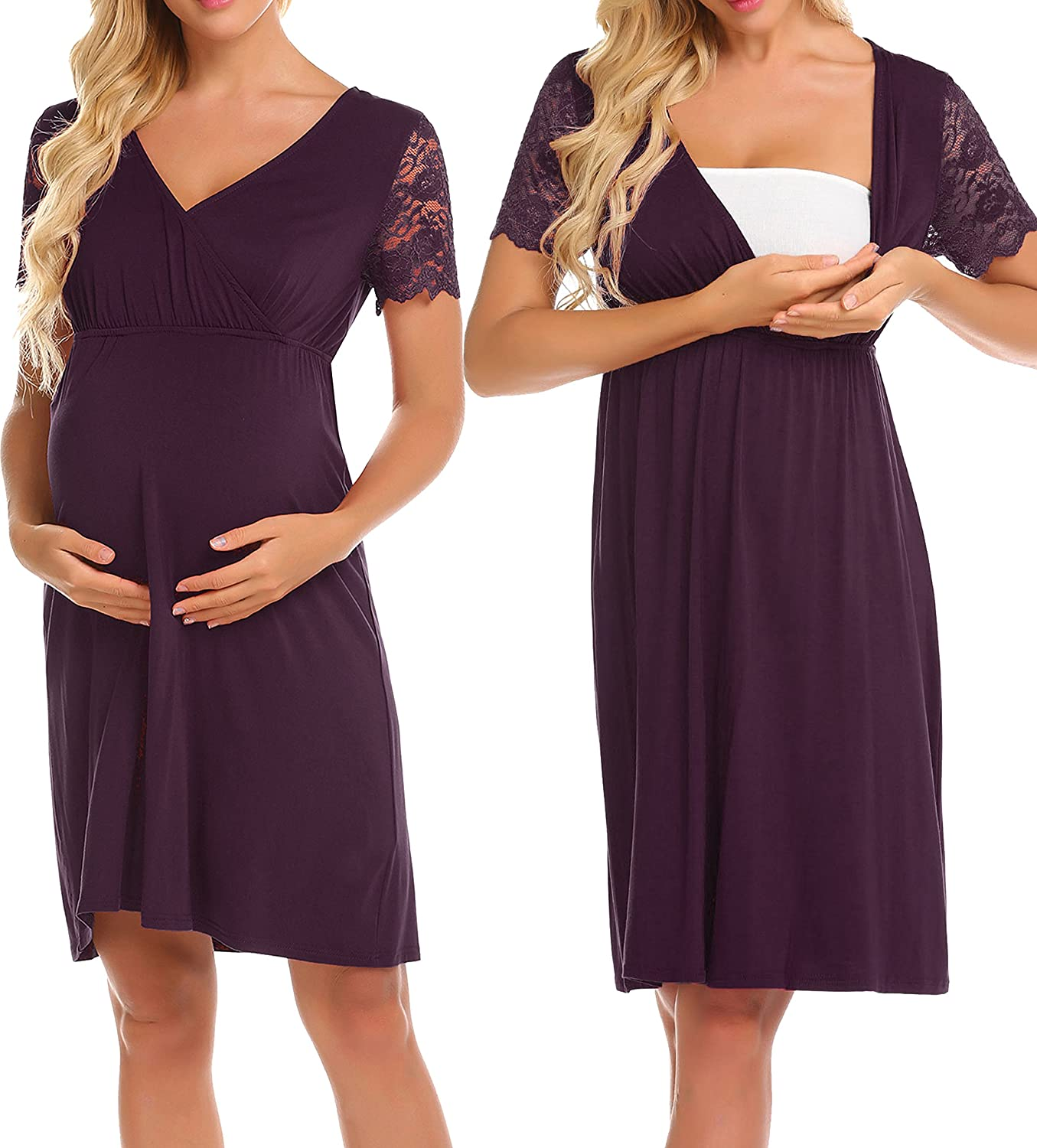 Ekouaer Womens Labor/delivery/Nursing Hospital Gown Maternity Lace Short Sleeve Sleep Dress ERK008891#
