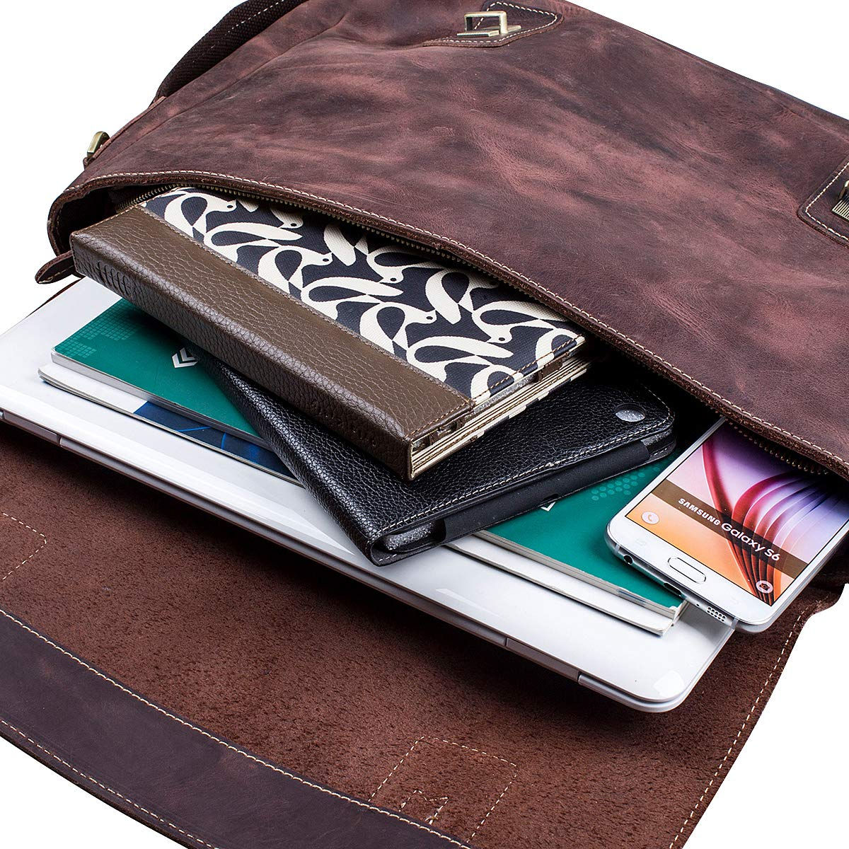 S-ZONE Men's Crazy Horse Leather Satchel Briefcase Shoulder Bag Messenger Bag 14'' Laptop Tote Bag by S-ZONE (Image #5)