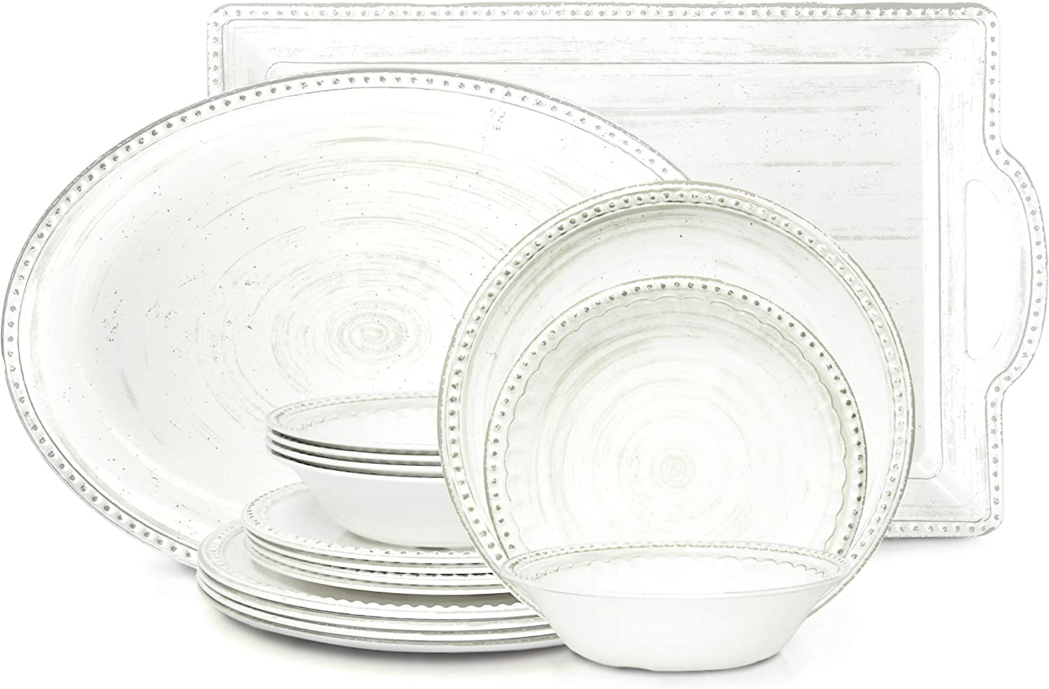 Zak Designs French Country House Melamine 14 Piece Dinnerware Set Includes Dinner, Salad Plates, Bowls, Serving Platter and Tray (Lavage Oyster)