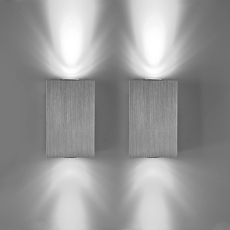 Lightess 2 Piezas Apliques de Pared LED Lámpara de Pared Moderna Luz de Puro Aluminio Agradable Luz Interior para Escaleras, Sala de estar, Dormitorio: Amazon.es: Iluminación