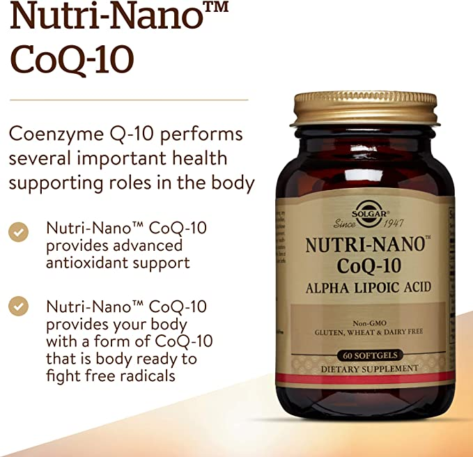 Solgar Nutri-Nano CoQ-10 con Ácido Alfa-Lipoico Cápsulas blandas ...