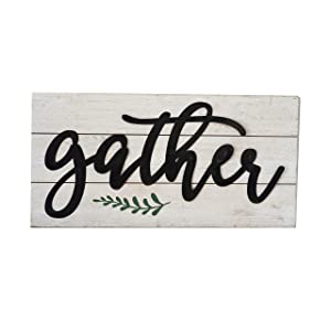 Parisloft Gather Rustic Black Metal 3D Quote on White Wood Wall Decor Sign Plaque 23.6 x 11.8 x 1.8 Inches (Gather)