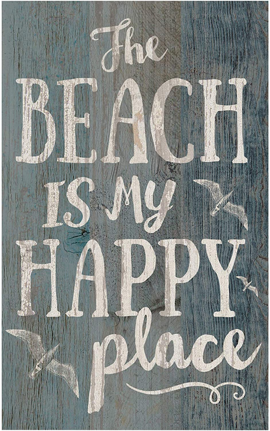 P. Graham Dunn Beach is My Happy Place Grey Distressed 10.5 x 17 Wood Pallet Wall Plaque Sign