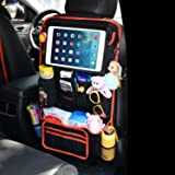 Car Back Seat Organizer with iPad Tablet Holder Max 12.9 Inch with Many Compartments for Kids and Car Trips, Multiple Use as Anti Kicking Mat & Auto Backseat Protector Two Minutes Setup