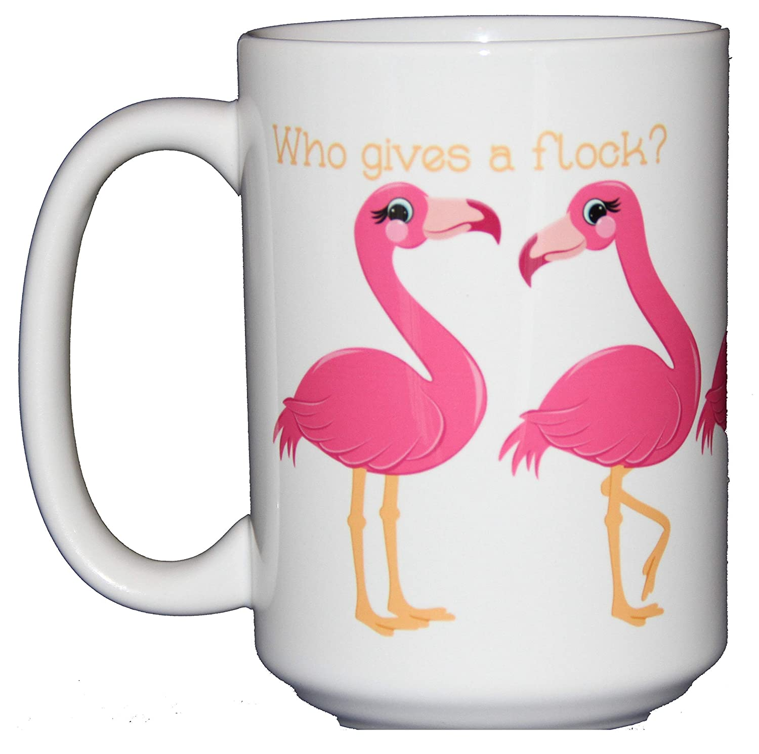 Who Gives a Flock Coffee Mug Cute Kawaii Cartoon Flamingo Puns