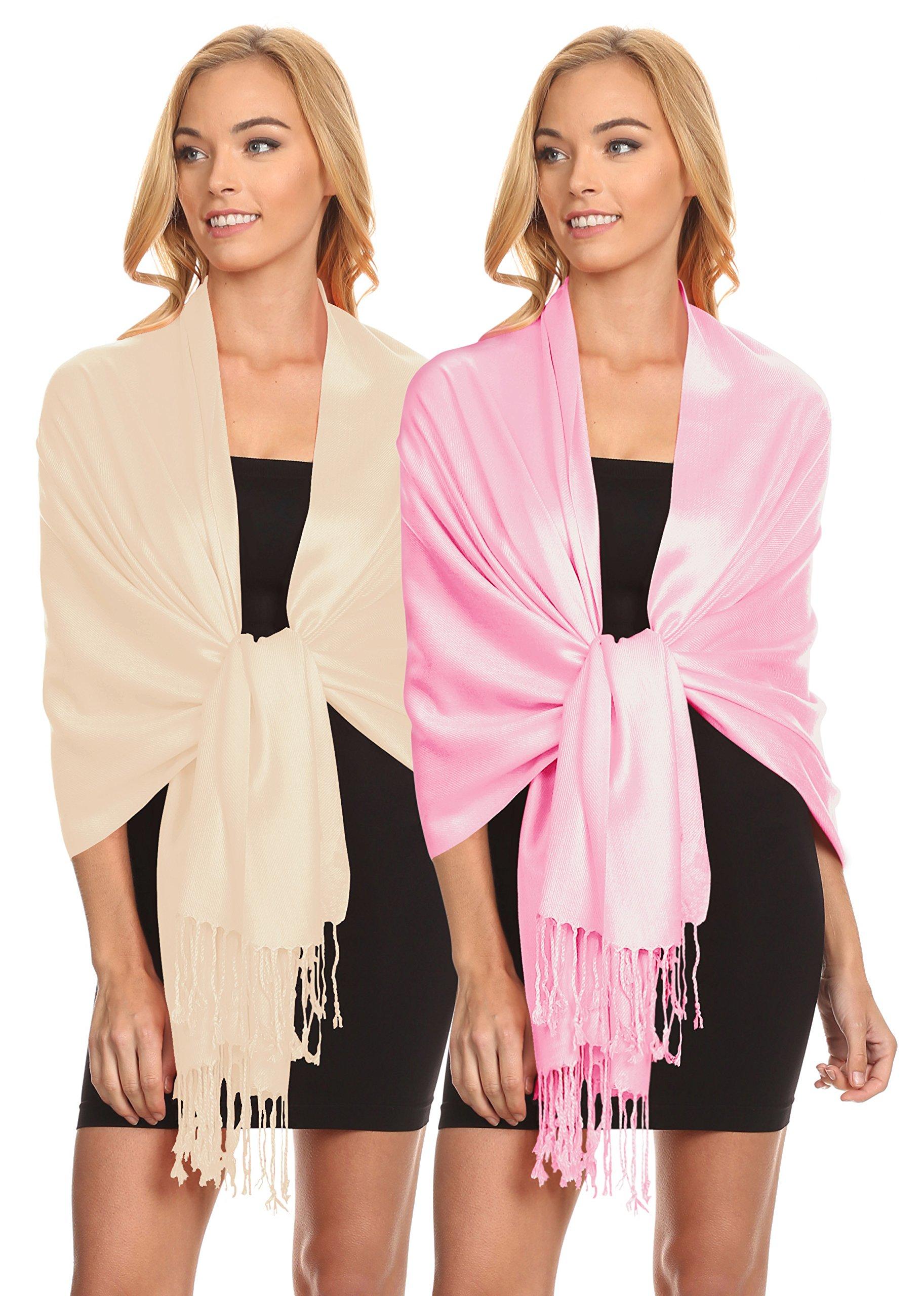 Simlu Womens Scarfs Silky Pashmina Shawl Wrap Scarves for Women Stole Shawls (Size One Size, 2 Pk Beige/Baby Pink)