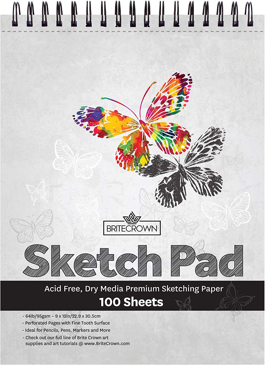 Markers Pens Sketch Pad 9 x 12-100 Sheets Acid Free Drawing Paper Perforated Sketchbook Art Paper for Pencils Brite Crown Sketch Book Charcoal and Dry Media Pastels 64lb//95gsm