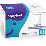 Babyfeel - 4 Count Refill - Fits Dekor Plus Diaper Pails - New Powder Scent - Powerful Odor Elimination - Holds up to 2320 Diapers - Extra Thick - Strong and Durable