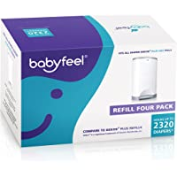 Babyfeel - 4 Count Refill - Fits Dekor Plus Diaper Pails - New Powder Scent - Powerful Odor Elimination - Holds up to 2320 Diapers - The Thickest Dekor Plus Refills - Strong and Durable
